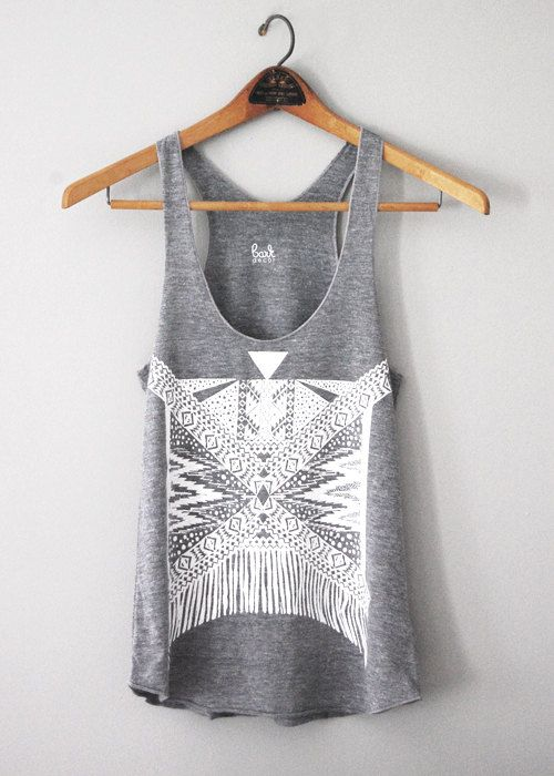 Xochitl - womens tri-blend racerback jersey tank top - Tribal Geometric modern bohemian - by Bark Decor via Etsy
