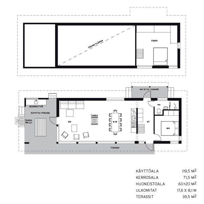 Linjakas talo S315 pohja