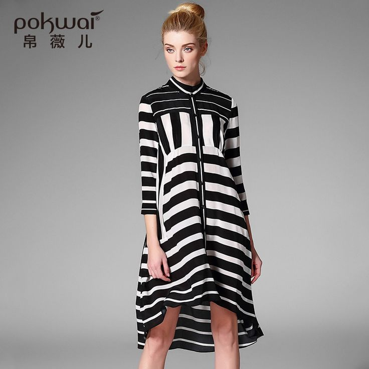POKWAI Elegant Midi Casual Summer Silk Shirt Dress Women Luxury Brand Clothing Three Quarter Sleeve Striped Asymmetrical Dresses