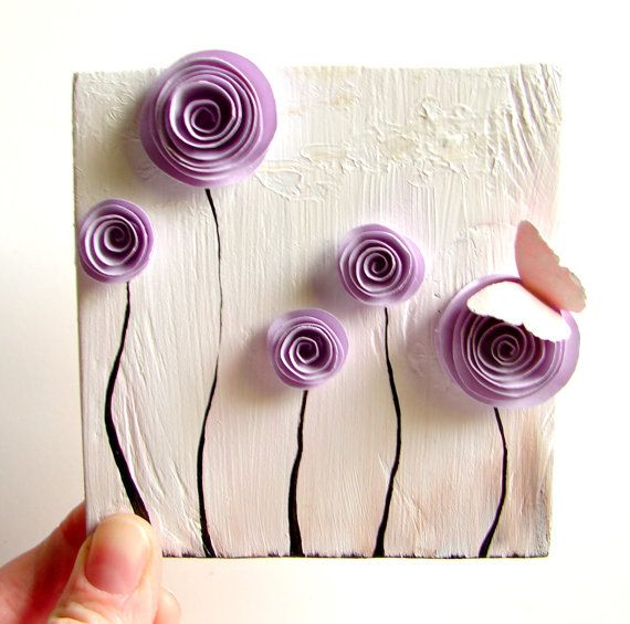 Mothers Day Gift, Spring Flowers, Birthday Gift for Her-Mixed Media Art-Paper Rosette, Butterfly-Lavender, Sand, White, and Grey. $38.00, via Etsy.