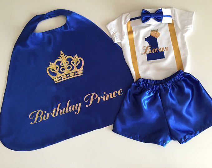 Primer cumpleaños niño del equipo, azul 1 traje de cumpleaños, ropa Smash azul pastel, 1 º real de azul y oro, traje de príncipe de cumpleaños, Baby Prince