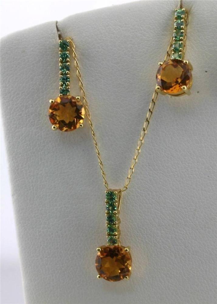 Italy 780K (18K) Yellow Gold Genuine Green Tsavorite Citrine Necklace Earrings