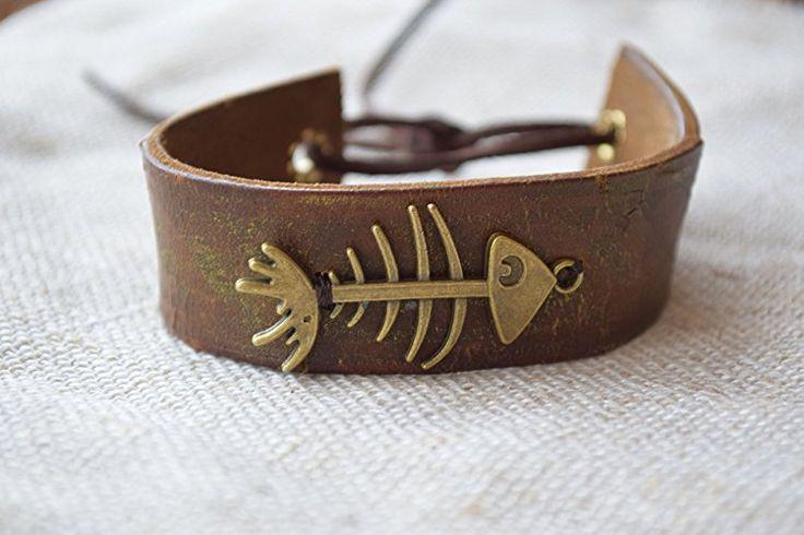 Böhmisches Manschetten Leder armband Mann geschenk Unisex schmuck sache Fisch Knochen Skeleton Skelett Nautisches gestapeltes geschenk für ihn Gurt Ehemanngeschenk böhmisches Geschenk jungen