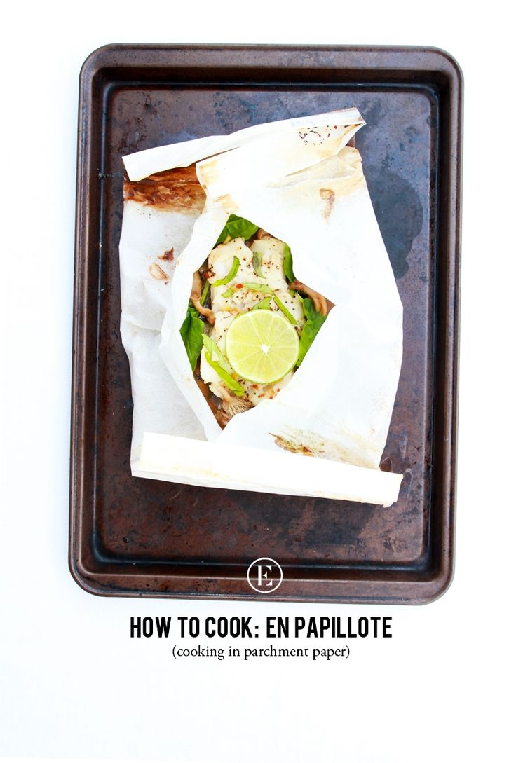 How to Cook En Papillote: Ginger-Soy Fish Steamed with Spinach & Mushrooms  #theeverygirl