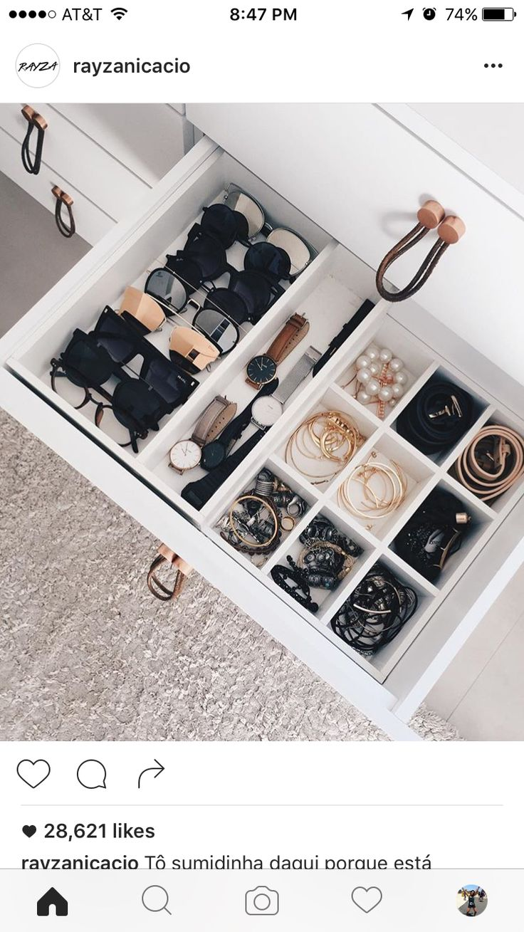 Use drawers in makeup table for jewelry