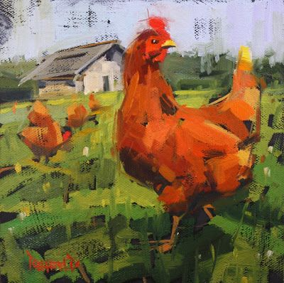 Eye See You Chicken,  cathleen rehfeld • Daily Painting