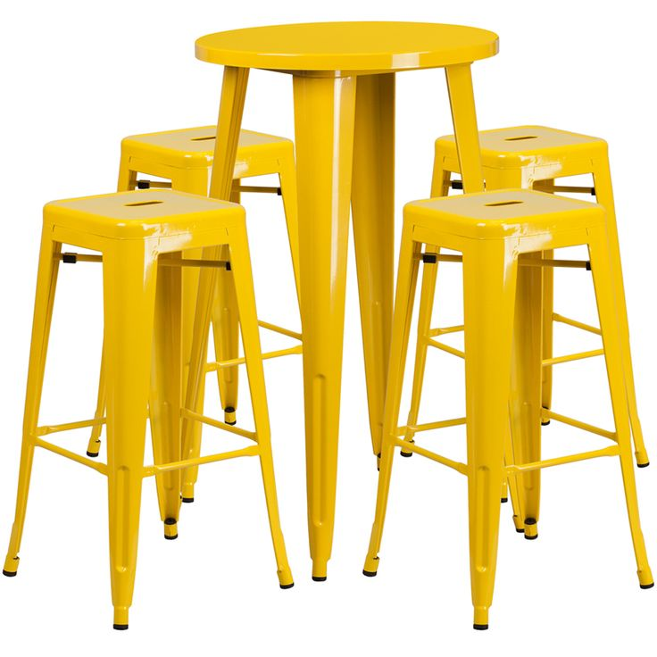 24'' Round Yellow Metal Indoor-Outdoor Bar Table Set with 4 Square Seat Backless Stools---Complete your dining room, restaurant or patio with this chic bar table and chair set. This colorful set will add a retro-modern look to your home or eatery...