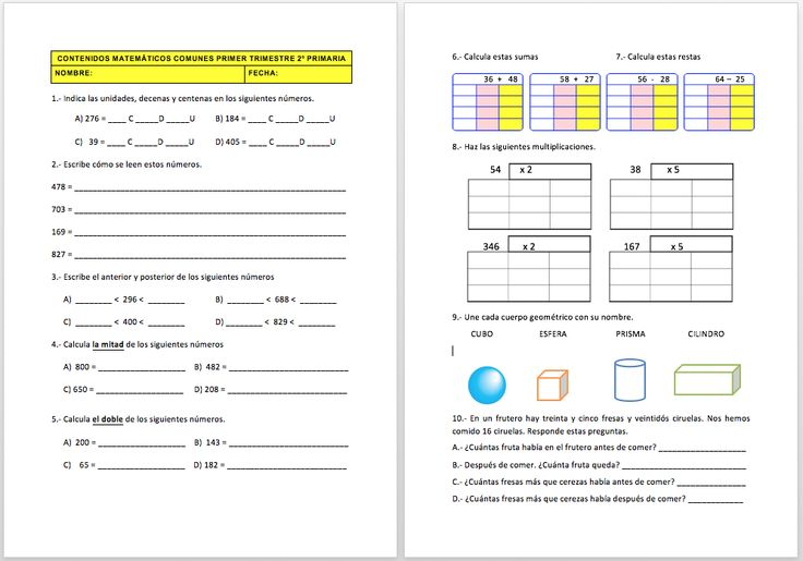 Evaluación contenidos ABN para 2º de Primaria.