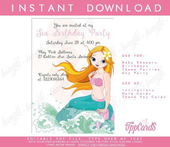 Mermaid Birthday Invitation - Little Mermaid Invitation - Under the Sea Birthday Pool Party Invitation - Printable Mermaid Invitation by TppCardS #tppcards