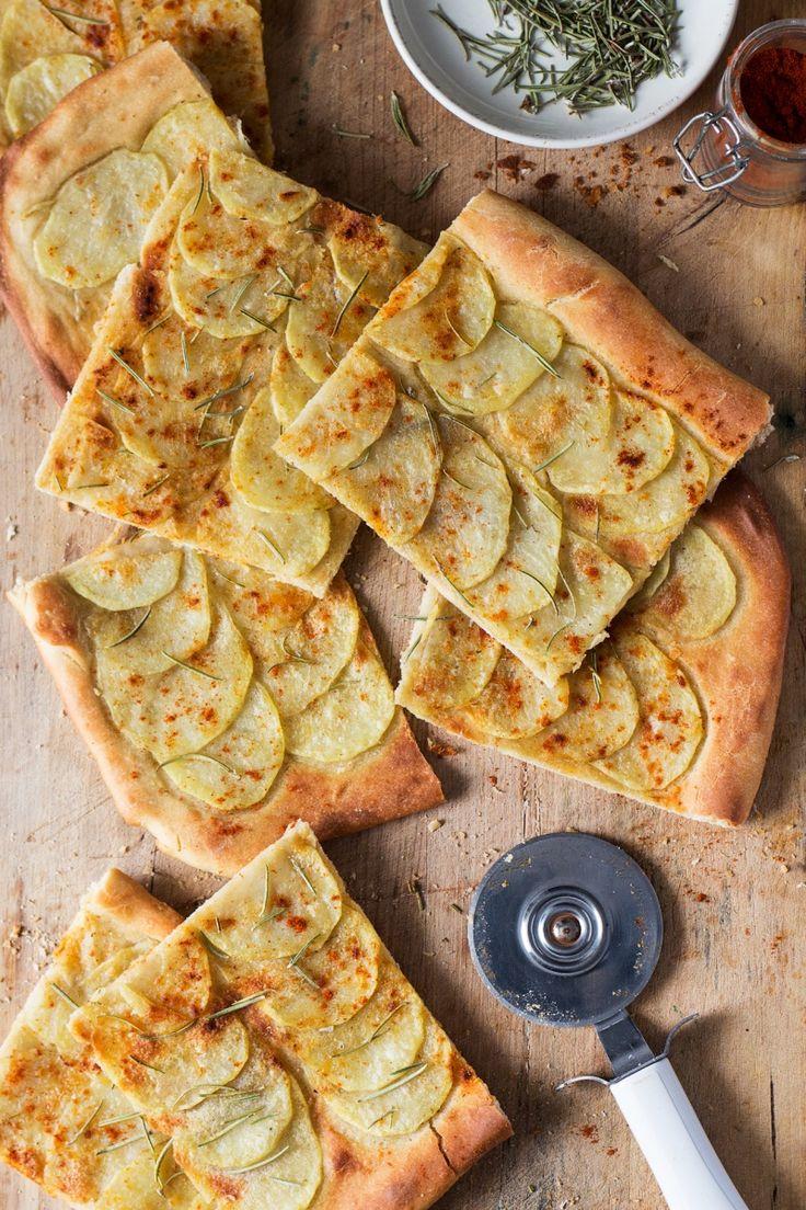 Vegan potato pizza with rosemary