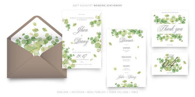 Scarica Gratis Collezione Di Modelli Di Carta Di Invito Matrimonio Morbido Eucalipto Wedding Invitation Card Template Wedding Invitation Cards Invitation Cards