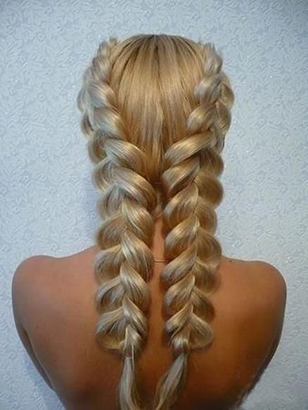 Two Dutch braids ( opposite of French or inside out) that are gently pulled every 4-5 braids down. Beautiful!