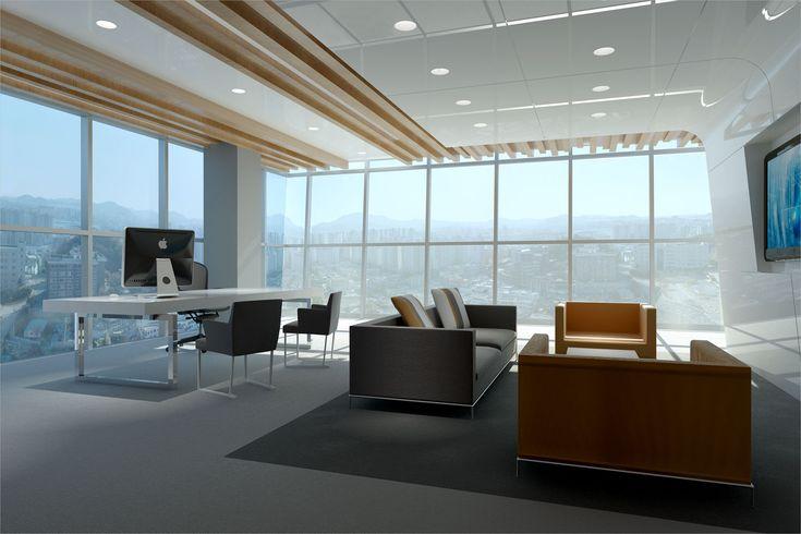 Concept van een zakelijk kantoor met spectaculair uitzicht