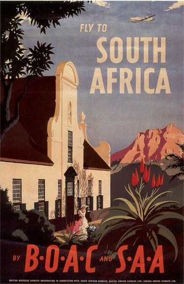 Fly to South Africa vintage travel poster