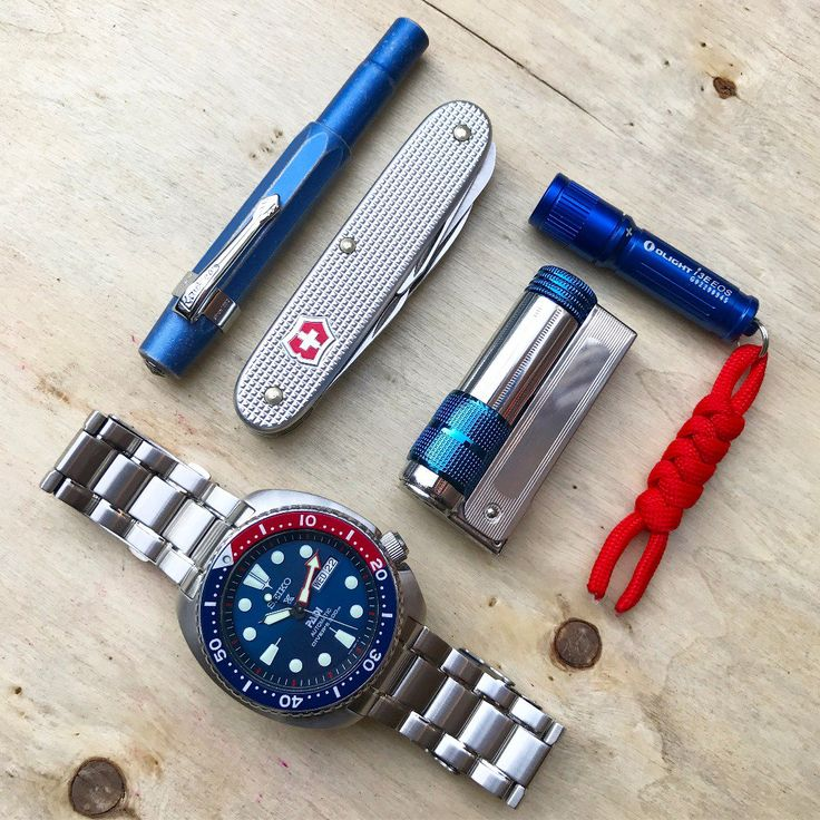 Summer Carry  submitted by Onur Hiz  Seiko SRPA21 Padi Automatic Prospex Pepsi Turtle Divers 200M Men's Watch  Kaweco AL-Sport Stonewashed Fountain Pen blue F Nib (Fine)  Victorinox Swiss Army Pioneer Pocket KnifeSilver Alox  IMCO Triplex Super 6700 Stainless Steel Oil Petrol Windproof Lighter  Olight 90 Lumens i3E EOS
