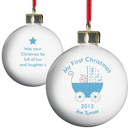 Personalised Blue Pram Bauble  from Personalised Gifts Shop - ONLY £10.99