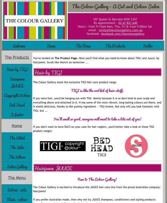 The Colour Gallery - A Cut and Colour Salon: Product Menu  Example of Retro Web Design.  Web Etch Design & Editing (Felicity Matthews)  http://www.thecolourgallery.com.au