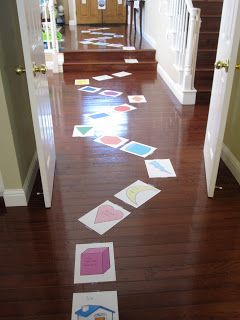Escape the Volcano Game: Good indoor game for a rainy day. Put different activity spaces that the kids stop and do as they move around the gameboard through the house