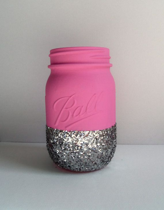 Glitter Mason Jar Hot Pink and Silver by JessCathDesigns on Etsy, $7.85