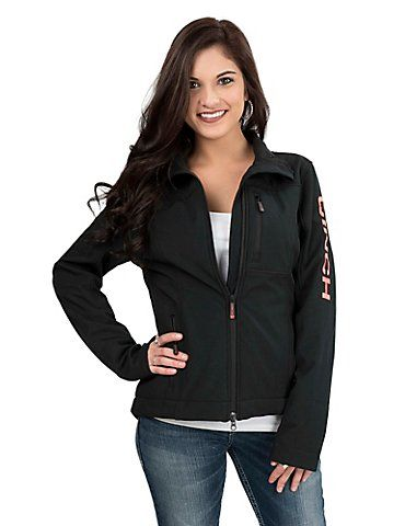 Cinch Women's Black with Coral Accents Long Sleeve Concealed Carry Bonded Jacket