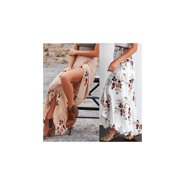 Floral Print Front-Slit Maxi Skirt ($13) ❤ liked on Polyvore featuring skirts, women, floral maxi skirt, front slit skirt, maxi skirt, floral printed skirt and floral print maxi skirt