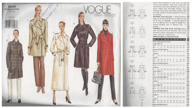 Vogue pattern 2449 classic trench coat
