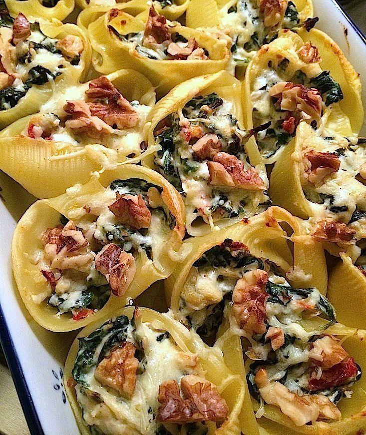 Gevulde pastaschelpen met spinazie_2