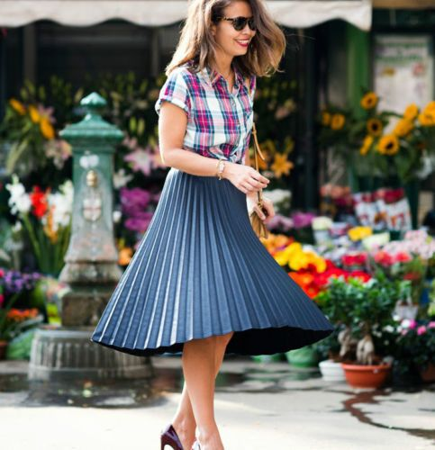 Zara Bloggers Black Pleated MIDI Skirt
