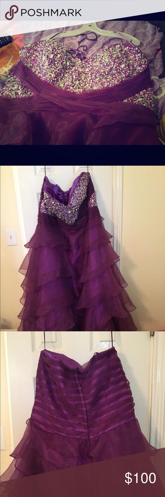 Purple prom dress only worn once Purple prom dress with sequin bust Dresses Prom