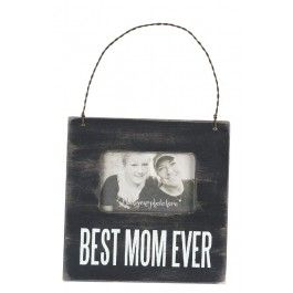 """Best Mom Ever Mini Frame by Primitives: The frame measures 4.5"""" Square; holds approx. 2"""" x 3"""" photo. Made with high quality wood with a distressed paint design."""