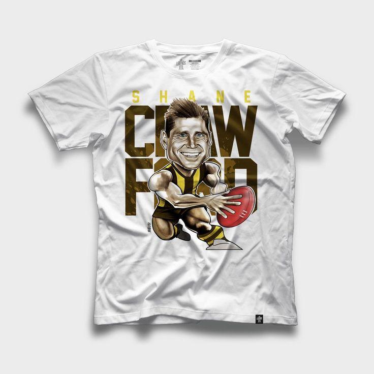 Shane Crawford Hawthorn Hawks Caricature T-shirt