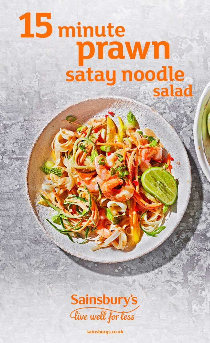 If you love peanut butter, you'll love this healthier prawn satay noodle salad. This quick and easy dish is a great mid-week meal, ready in just 15 minutes. Combine the peanut butter, lime juice, rice wine vinegar, honey and soy for this fragrant and tasty peanut sauce,