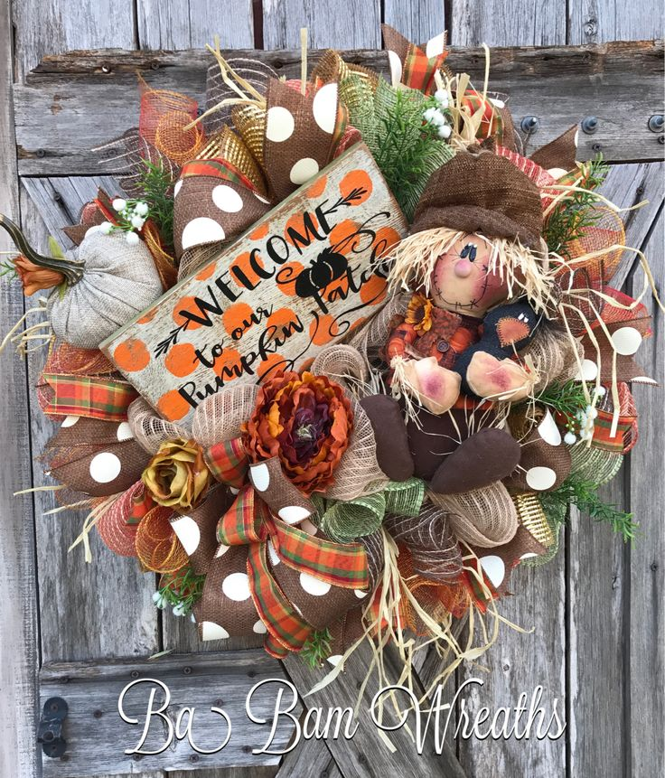 Fall Wreath, Autumn Wreath, Scarecrow Wreath, Pumpkin Wreath by Ba Bam Wreaths