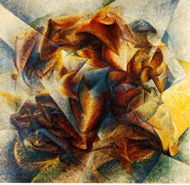 Dynamism of a soccer/football player, 1913, by Boccioni.  A modern art movement originating among Italian artists in 1909, when Filippo Marinetti's first manifesto of futurism appeared, until the end of World War I.  Futurist painting and sculpture were especially concerned with expressing movement and the dynamics of natural and man-made forms.