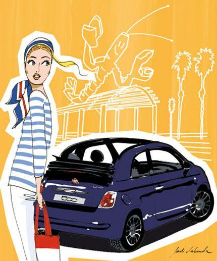 Con el Fiat 500 como referencia, Jordi ilustra cada una de las ciudades visitadas por la Guía AD 2012. Revista AD.