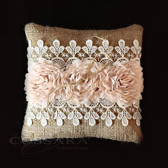 Rustic / Shabby Chic Burlap Ring Pillow with Peach by Cossara