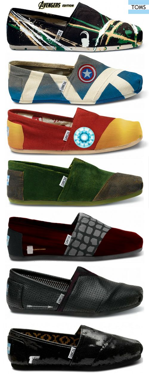 #Avengers themed #TOMS shoes -  Loki, Captain America, Iron Man, Hulk, Thor, Hawkeye, and Black Widow created by Tom Hiddlestunned.