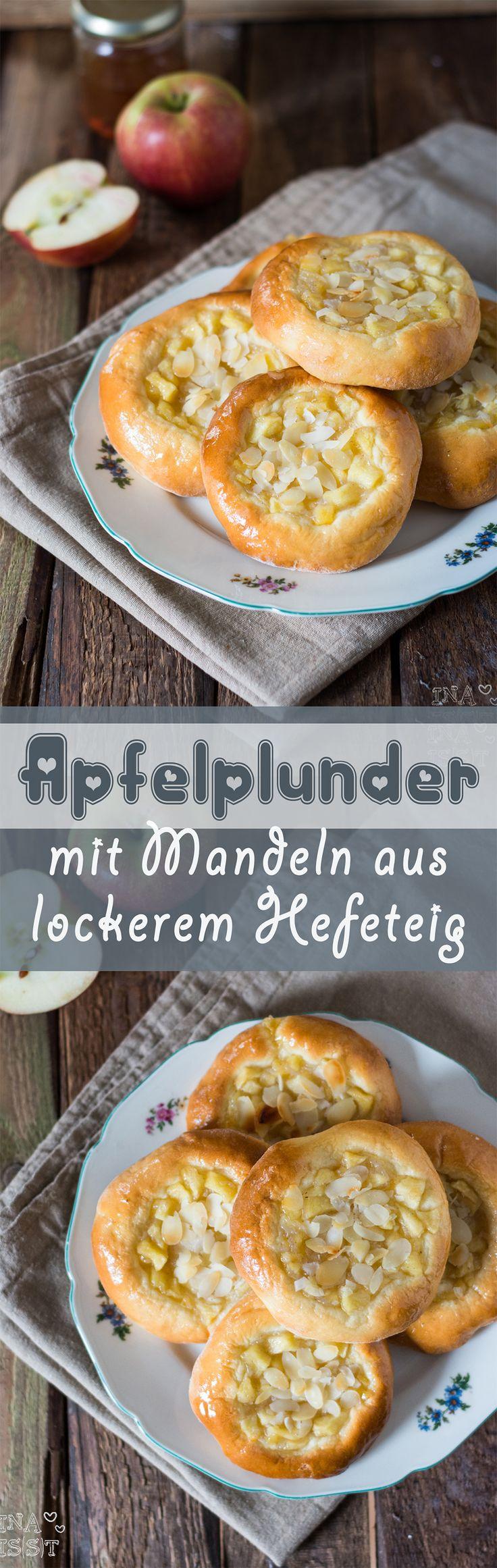 Sweet apple buns with soft yeast dough and almonds /// Apfelplunder mit Mandeln aus lockerem Hefeteig