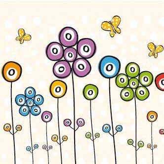Flores con puntos de color