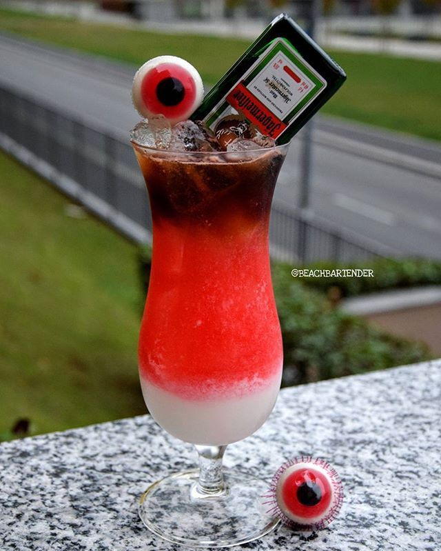• EYES OF DRUNK ZOMBIE • White Layer: Coconut Rum Coconut Cream Whipping Cream Red Layer: Cranberry Liqueur Strawberry Liqueur Triple Sec Strawberry Brezzer/Lemonade Top: Jägermeister Mini Bottle Jelly Eyes P.S Special for Helloween Party _ #tipsybartender #thirsty #amazing #american #hello #helloween #party #cool #dead #girls #zombie #club #bar #drinks #drin #cocktail #cocktail #vodka #dark #red #pink #istagood #yummy #evil #sweet #beautiful #hell #selfie #sexy #photooftheday