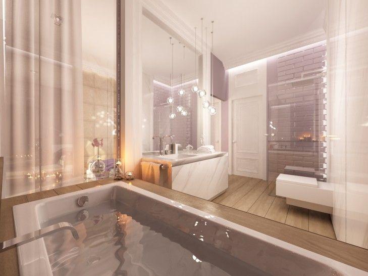 Aranżacja wnętrz luksusowej łazienki otwartej na sypialnię poprzez szklana szybę i drzwi przesuwne. Subtelne połączenie drewna, bieli i kafli w kolorze śliwkowej szarości.