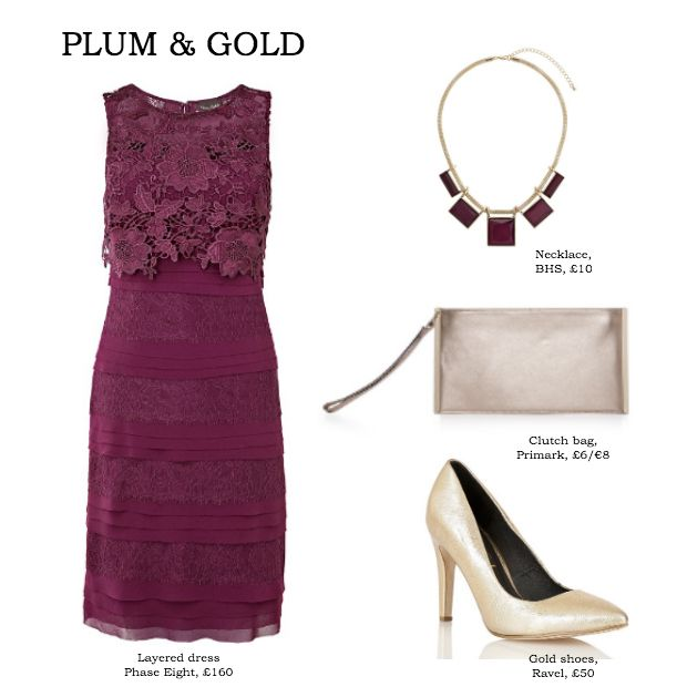 Plum & gold wedding guest outfit inspiration for summer and winter. See more wedding fashion inspiration at Daydreaming Bride www.daydreamingbride.com