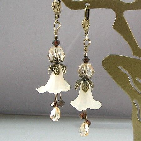 Cafe au Lait Lucite Flower & Swarovski earrings, pacificjewelrydesigns