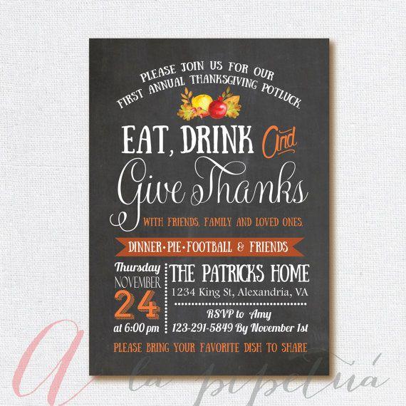 Thanksgiving invitation. Printable Thanksgiving invite. Personalized. Thanksgiving dinner invite. Chalkboard thanksgiving invitation.