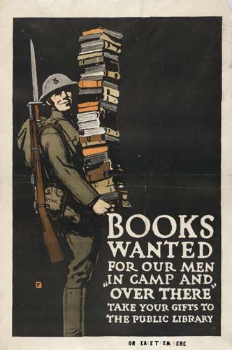 World War 1 Patriotic Poster - requesting books for the men in service. -- It seems that history repeats itself - the need is now, also.
