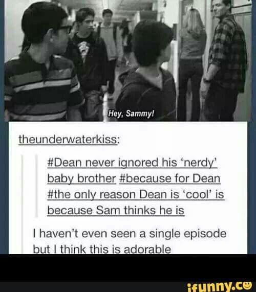 I know ...when i watched this  episode i just loved that dean ignolaged that sam existed...most brothers would just keep walking...but not dean...he is just so sweet and i love him with my whole heart
