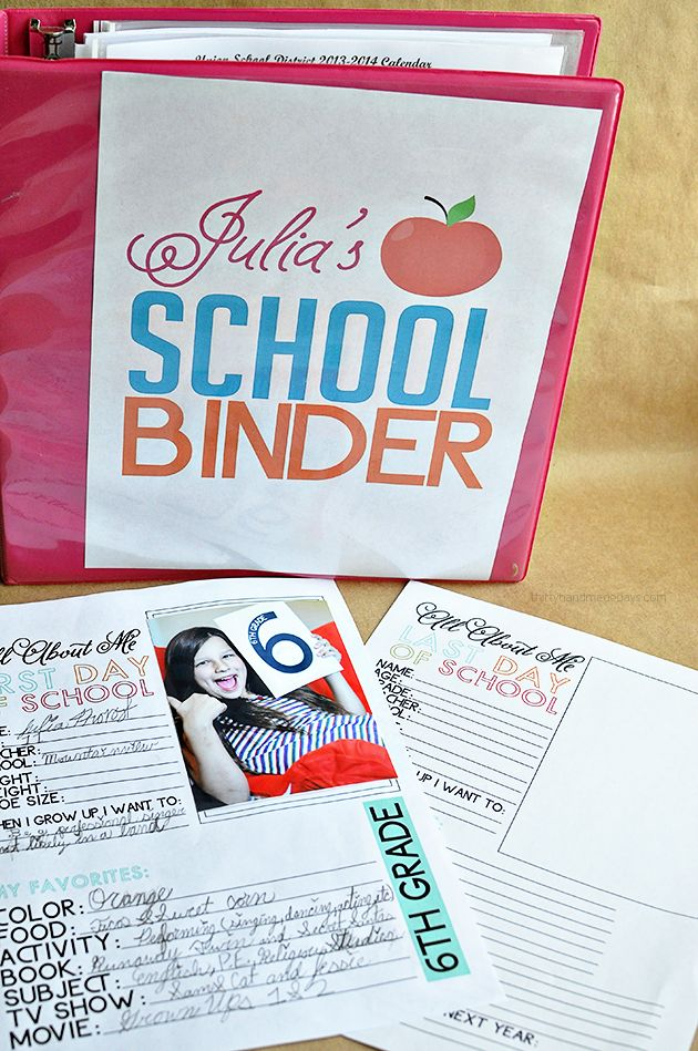 Printable Last Day of School Fill In - to go hand in hand with school binder - definitely starting this in the Fall
