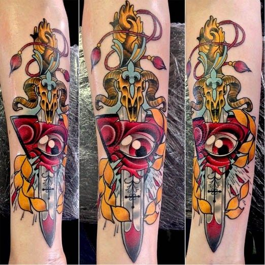 Colorful piece by Neil Dransfield. #inked #inkedmag #tattoo #dagger #color #colorful #eye #idea