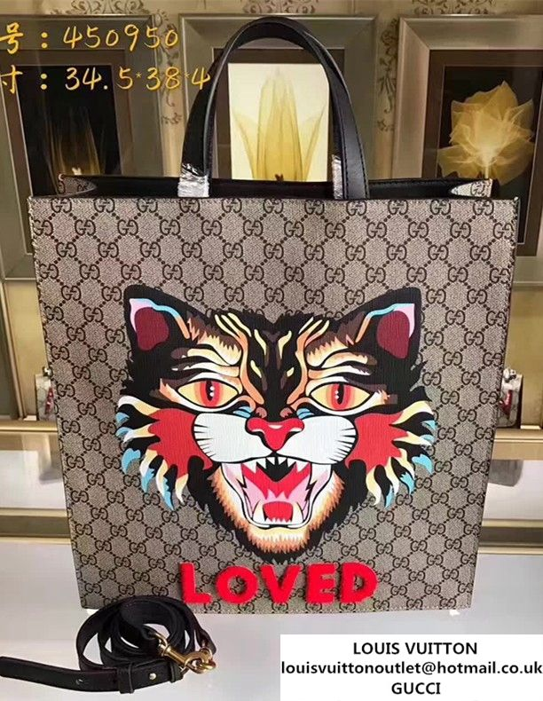 36ddb3bb79e8 Gucci Angry Cat Print GG Supreme Tote 450950 2017 | Gucci | Angry ...
