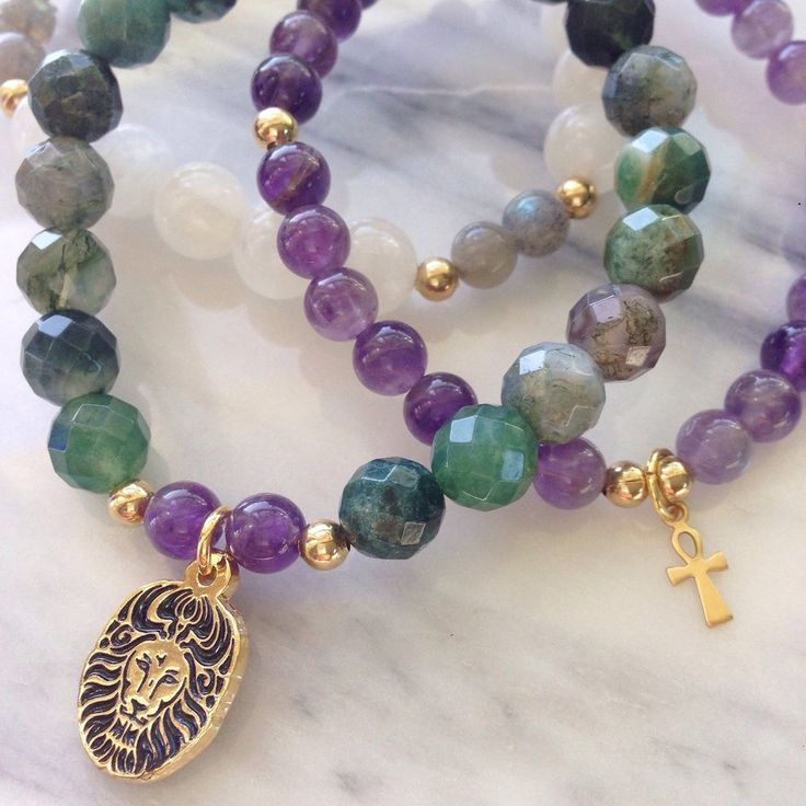 """Beautiful """"Earth Mother"""" Moss Agate, Amethyst and Moonstone Lionheart Bracelet Stack by #MikaMalaPride. Inspired by Goddess Tara, goddess of peace and protection, this bracelet stack aids in success in achievements carrying the energy of the """"Mother of liberation."""""""